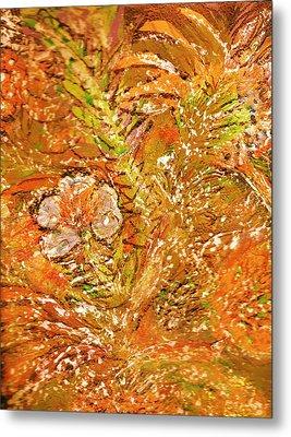 Extravaganza Orange Metal Print by Anne-Elizabeth Whiteway