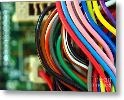 Extreme Closeup Of Motherboard And Cables Metal Print by Yali Shi
