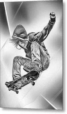 Extreme Skateboard Jump Metal Print by Julie L Hoddinott