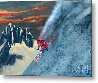 Extreme Ski Painting  Metal Print by Sassan Filsoof
