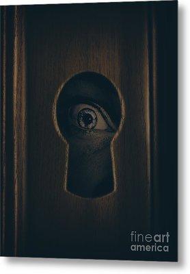 Eye Looking Through Door Keyhole Metal Print by Jorgo Photography - Wall Art Gallery