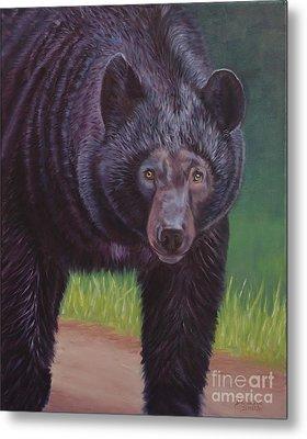 Eye To Eye - Black Bear Metal Print