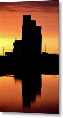 Eyebrow Gain Elevator Reflected Off Water After Sunset Metal Print by Mark Duffy