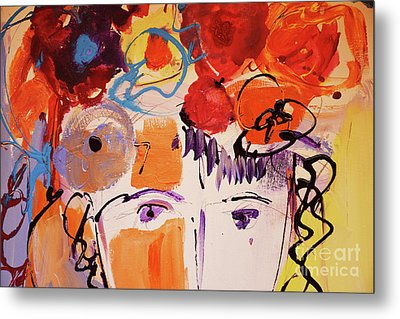 Eyes And Flowers Metal Print by Amara Dacer