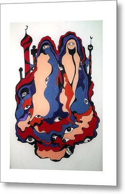 Metal Print featuring the painting Eyes Of Islam by Rae Chichilnitsky