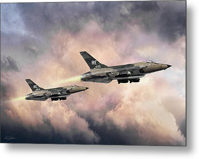 Metal Print featuring the digital art F-105 Thunderchief by Peter Chilelli