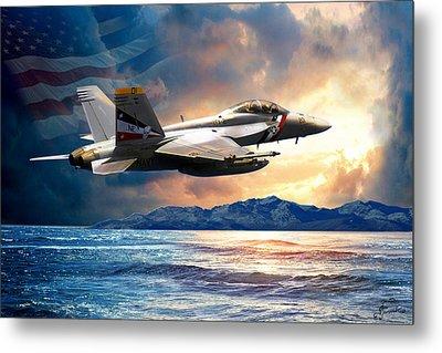 Bounty Hunter Fighter Jet, America The Beautiful Metal Print