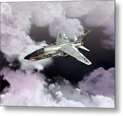 F-8e At Kilo Marshall Metal Print by Mike Ray