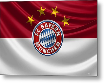 F C Bayern Munich - 3 D Badge Over Flag Metal Print by Serge Averbukh
