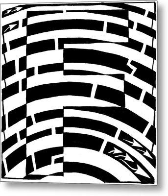 F Maze Metal Print by Yonatan Frimer Maze Artist