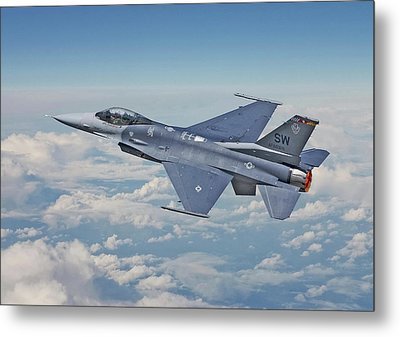 Metal Print featuring the digital art F16 - Fighting Falcon by Pat Speirs