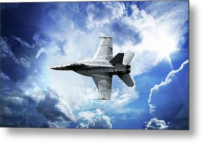 Blue Metal Print featuring the photograph F18 Fighter Jet by Aaron Berg