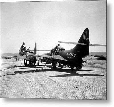 F9f Panther Jets Being Refueled Metal Print by Stocktrek Images