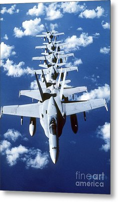 Fa-18c Hornet Aircraft Fly In Formation Metal Print by Stocktrek Images