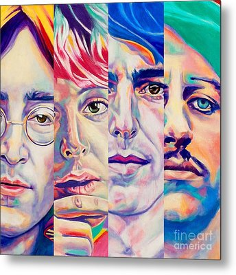 Metal Print featuring the painting Fab Four by Rebecca Glaze