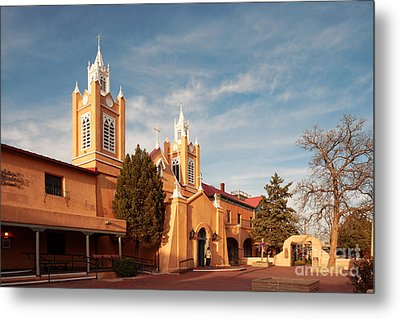 Facade Of San Felipe De Neri Church In Old Town Albuquerque - New Mexico Metal Print by Silvio Ligutti