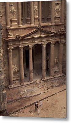 Facade Of The Treasury In Petra, Jordan Metal Print by Richard Nowitz