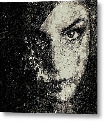 Face In A Dream Grayscale Metal Print