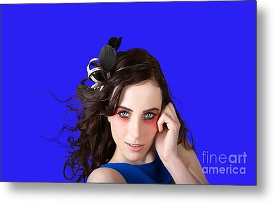 Face Of A Female Beauty With Red Eye Make Up Metal Print by Jorgo Photography - Wall Art Gallery