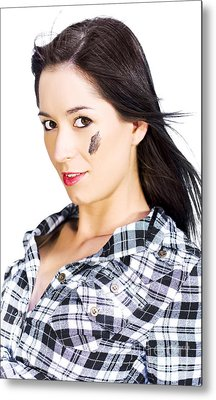 Face Of A Female Machanic Metal Print by Jorgo Photography - Wall Art Gallery