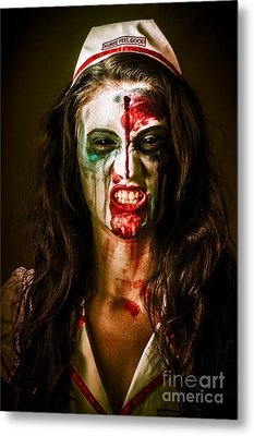 Face Of A Scary Woman In A Horror Nurse Costume Metal Print by Jorgo Photography - Wall Art Gallery