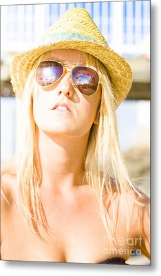 Face Of A Woman In Sunglasses On Holiday Metal Print by Jorgo Photography - Wall Art Gallery