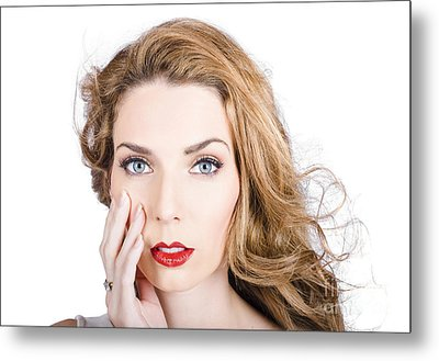 Face Of An Attractive Young Girl. Cosmetic Model Metal Print by Jorgo Photography - Wall Art Gallery