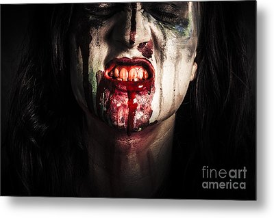 Face Of Dark Vampire Girl With Blood Mouth Metal Print by Jorgo Photography - Wall Art Gallery