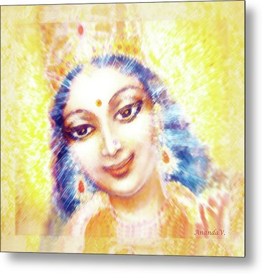 Face Of The Goddess - Lalitha Devi - Light Metal Print by Ananda Vdovic