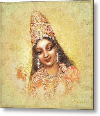 Face Of The Goddess - Lalitha Devi - Without Frame Metal Print by Ananda Vdovic