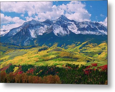 Facinating American Landscape Flowers Greens Snow Mountain Clouded Blue Sky  Metal Print