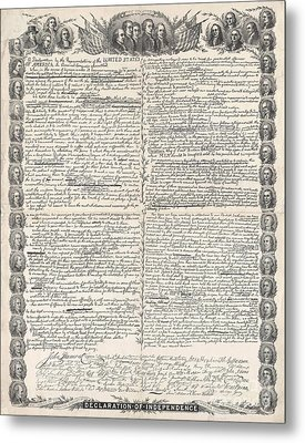 Facsimile Of The Original Draft Of The Declaration Of Independence Metal Print by American School