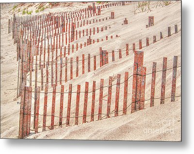 Faded Red Beach Fence  Metal Print