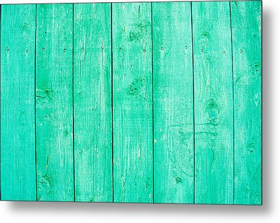 Metal Print featuring the photograph Fading Aqua Paint On Wood by John Williams