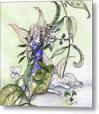 Faeries In The Garden Metal Print