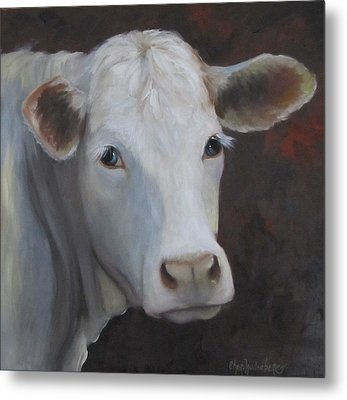 Metal Print featuring the painting Fair Lady Cow Painting by Cheri Wollenberg