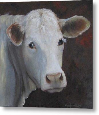 Fair Lady Cow Painting Metal Print by Cheri Wollenberg