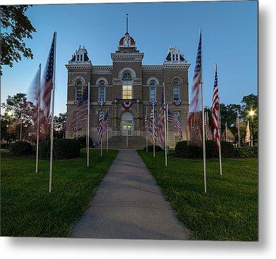Fairbury Nebraska Avenue Of Flags - September 11 2016 Metal Print by Art Whitton