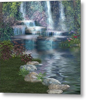 Fairies Hidden Lake Metal Print by Digital Art Cafe