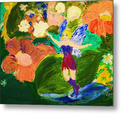 Metal Print featuring the painting Fairies In The Garden by Evelina Popilian
