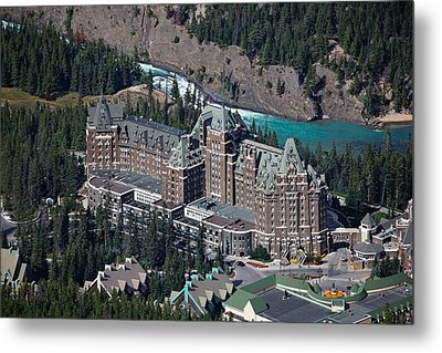 Fairmont Banff Springs Hotel With The Bow River Falls Banff Alberta Canada Metal Print by George Oze