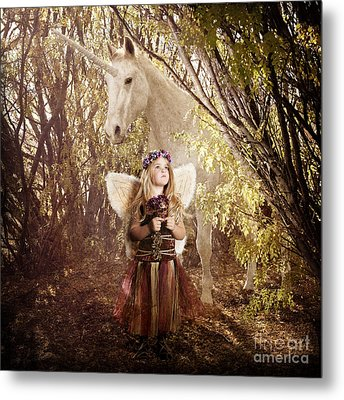 Fairy And Unicorn Metal Print by Cindy Singleton