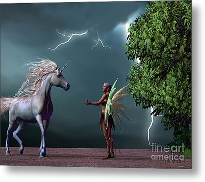 Fairy And Unicorn Metal Print by Corey Ford
