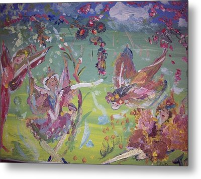 Metal Print featuring the painting Fairy Ballet by Judith Desrosiers