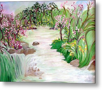 Metal Print featuring the painting Fairy Blossom Falls by Sherri  Of Palm Springs
