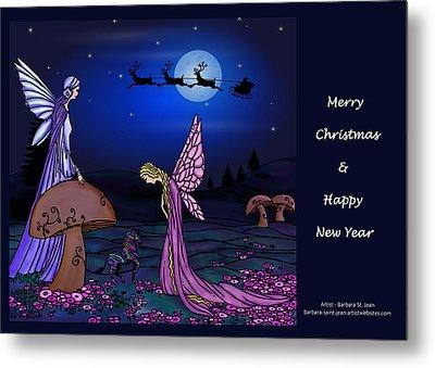 Fairy Christmas Card Metal Print by Barbara St Jean