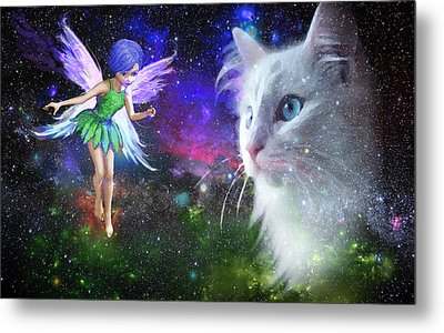 Fairy Encounters Cat  Metal Print