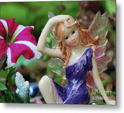 Metal Print featuring the photograph Fairy In Flowerbed by Lila Fisher-Wenzel