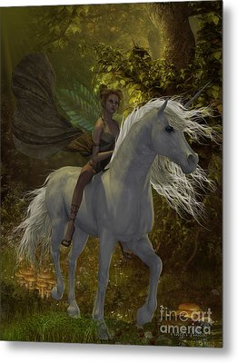 Fairy Rides Unicorn Metal Print