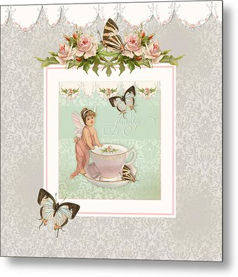 Fairy Teacups - Flutterbye Butterflies And English Rose Damask Metal Print